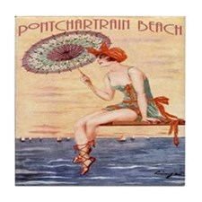 Pontchartrain Beach Poster 2 Tile Coaster