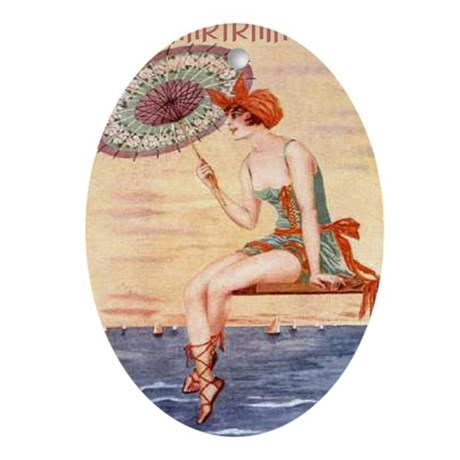 Pontchartrain Beach Poster 2 Oval Ornament