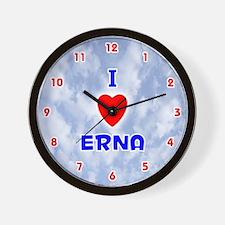 I Love Erna (Red/Bl) Valentine Wall Clock
