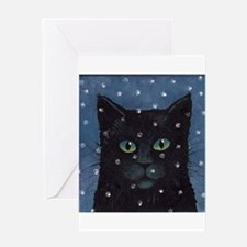 Black Cat Snow Falling Cards (Pk of 10) Greeting C