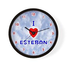 I Love Esteban (Red/Bl) Valentine Wall Clock