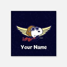 """Snoopy Ace Personalized Square Sticker 3"""" x 3"""""""