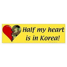 Half my heart is in Korea Bumper Car Sticker
