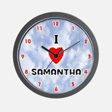 I Love Samantha (Red/Blk) Valentine Wall Clock