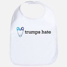 Love Trumps Hate with Safety Pin Heart Baby Bib