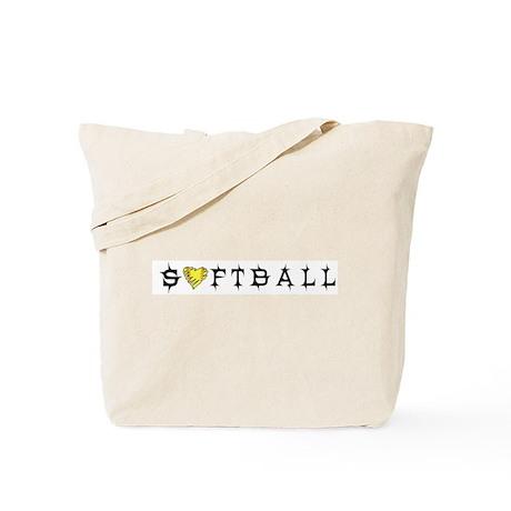 Softball with Heart Tote Bag