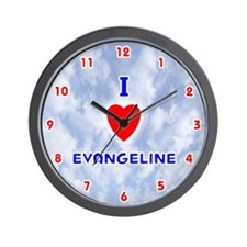 I Love Evangeline (Red/Bl) Valentine Wall Clock