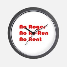 No Roger No Re-Run No Rent Wall Clock