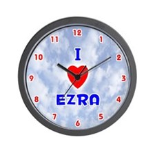 I Love Ezra (Red/Bl) Valentine Wall Clock