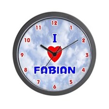 I Love Fabian (Red/Bl) Valentine Wall Clock