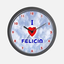 I Love Felicia (Red/Bl) Valentine Wall Clock