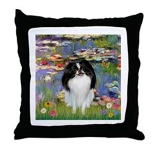 Lilies (Monet) & Japanese Chin Throw Pillow