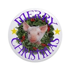 Cute Happy pig Ornament (Round)
