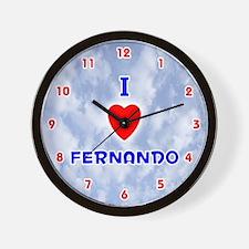 I Love Fernando (Red/Bl) Valentine Wall Clock