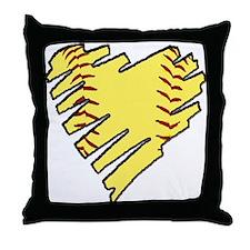 Softball Heart Throw Pillow