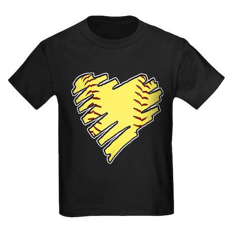 Softball Heart Kids Dark T-Shirt