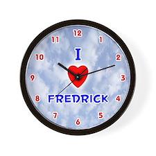 I Love Fredrick (Red/Bl) Valentine Wall Clock