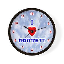 I Love Garrett (Red/Bl) Valentine Wall Clock