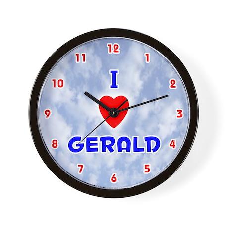 I Love Gerald (Red/Bl) Valentine Wall Clock