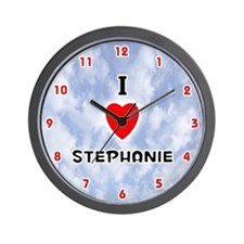 I Love Stephanie (Red/Blk) Valentine Wall Clock