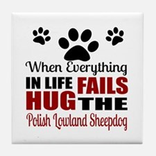 Hug The Polish Lowland Sheepdog Tile Coaster