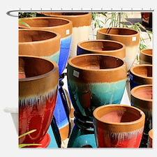 Coloured garden plant pots Shower Curtain