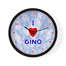 I Love Gino (Red/Bl) Valentine Wall Clock