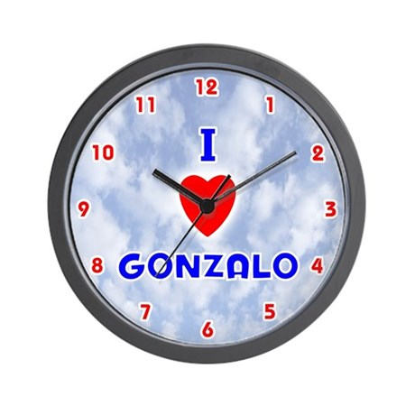 I Love Gonzalo (Red/Bl) Valentine Wall Clock