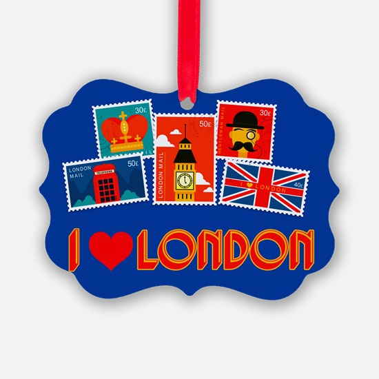 I love London, stamp collection Ornament