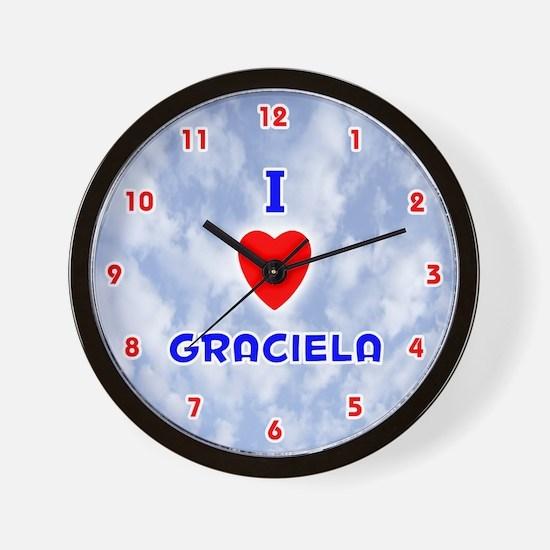I Love Graciela (Red/Bl) Valentine Wall Clock
