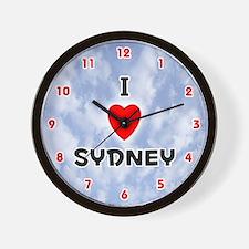 I Love Sydney (Red/Blk) Valentine Wall Clock