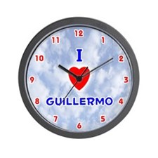 I Love Guillermo (Red/Bl) Valentine Wall Clock