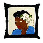 Woman w/Gardenias in her hair Throw Pillow