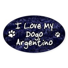 Funky Love Dogo Argentino Oval Decal