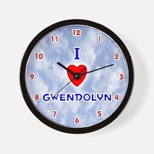 I Love Gwendolyn (Red/Bl) Valentine Wall Clock