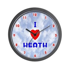 I Love Heath (Red/Bl) Valentine Wall Clock