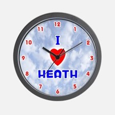 I Love Heath (Red/Bl) Valentine Wall Clock