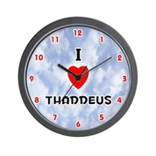I Love Thaddeus (Red/Blk) Valentine Wall Clock
