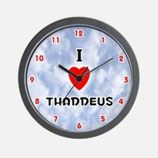 I Love Thaddeus (Red/Blk) Valentine Wall Clock