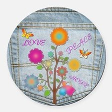 Denim Pocket Peace Love Hope Round Car Magnet