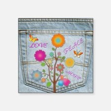 Denim Pocket Peace Love Hope Sticker
