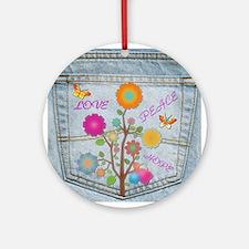 Denim Pocket Peace Love Hope Round Ornament
