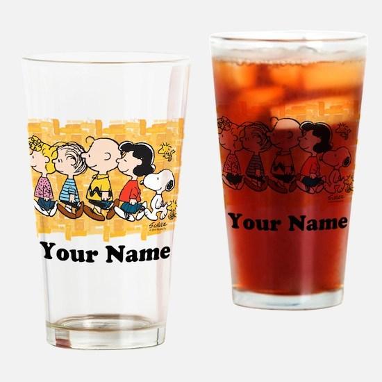 Peanuts Walking Personalized Drinking Glass