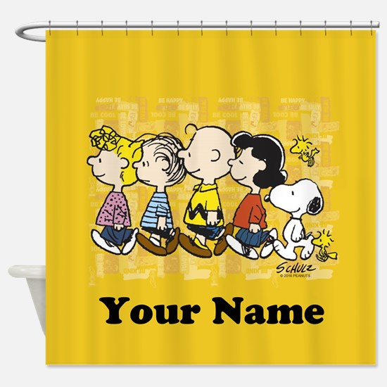 Peanuts Walking Personalized Shower Curtain. Snoopy Shower Curtains   CafePress