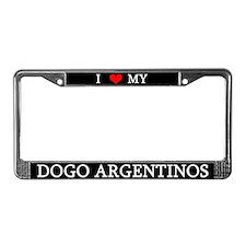 Love Dogo Argentinos License Plate Frame