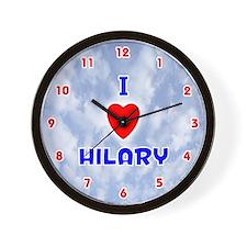 I Love Hilary (Red/Bl) Valentine Wall Clock