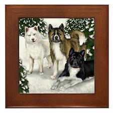 AKITA DOGS SNOW FOREST Framed Tile