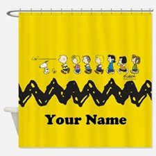Peanuts Running Personalized Shower Curtain