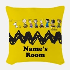 Peanuts Running Personalized Woven Throw Pillow