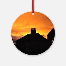 Sunset House Round Ornament